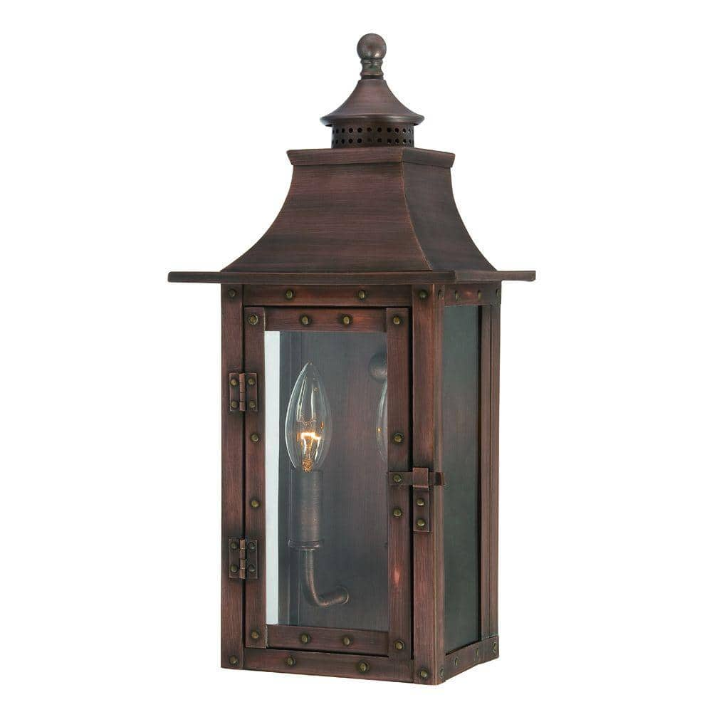 Acclaim Lighting St Charles Collection 2 Light Copper Patina Outdoor Wall Lantern Sconce 8302cp The Home Depot