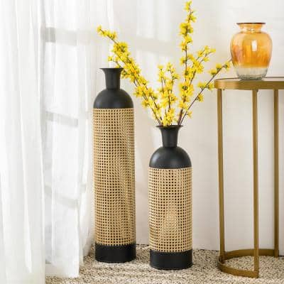 Boho Decorative Gold/Black Floor Metal Vases (Set of 2)