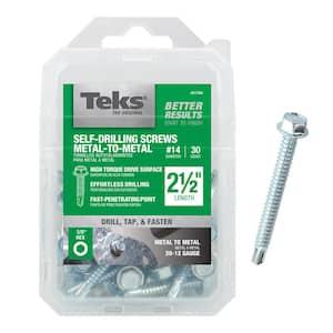 #14 2-1/2 in. External Hex Flange Hex-Head Self-Drilling Screws (30-per Pack)