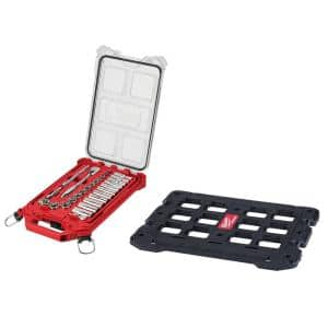 3/8 in. Drive SAE Ratchet and Socket Mechanics Tool Set with Packout Case and Packout Mounting Plate (28-Piece)