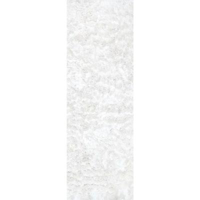 Latonia Silken Shag Pearl White 2 ft. 6 in. x 10 ft. Indoor Runner Rug