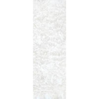 Latonia Silken Shag Pearl White 3 ft. x 8 ft. Runner