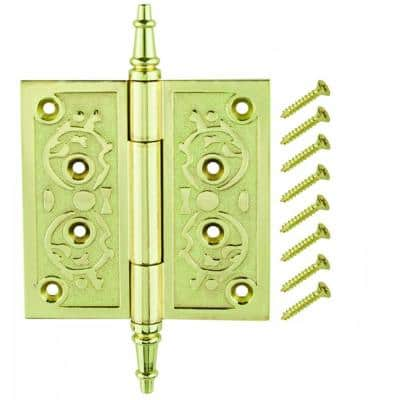 4 in. Bright Brass Decorative Square Corner Door Hinge with Finial