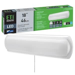 18 in. LED Flush Mount Closet Light with Pull Chain 1200 Lumens 4000K Bright White 16-Watt ENERGY STAR