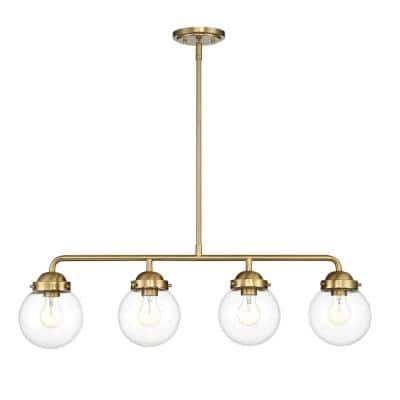 Knoll 4-Light Brushed Gold Island Pendant