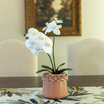 13 in. Artificial Real-touch Orchids in 4.75 in. Pink Floral Pot