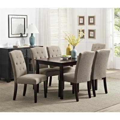 Bethany Taupe Parsons Upholstered Tufted Dining Chair