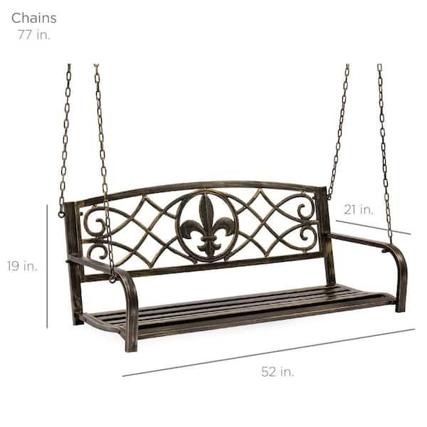 Person Bronze Metal Porch Swing, Patio Swing Home Depot
