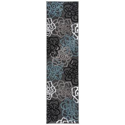 Contemporary Floral Dark Gray Indoor Area Rug Runner 2 ft. x 7 ft. 2 in.