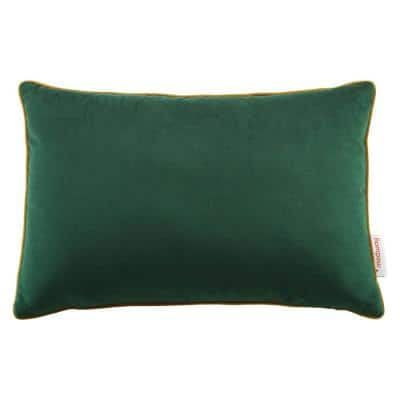 Accentuate Green Cognac Solid French Piping 12 in. x 18 in. Lumbar Performance Velvet Throw Pillow