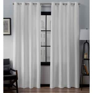 Loha Winter White Solid Polyester 54 in. W x 84 in. L Grommet Top Light Filtering Curtain Panel (Set of 2)