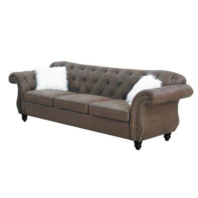 93 in. Dark Coffee Faux Leather 4-Seater Sofa with Tufted Cushions with Nailhead Trim