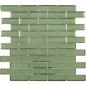 Evergreen 11.73 in. x 11.73 in. x 8 mm Textured Beveled Subway Glass Mesh-Mounted Mosaic Wall Tile (9.6 sq. ft./Case)