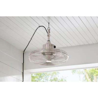 Calthorpe 20 in. Portable Brushed Nickel Ceiling Fan