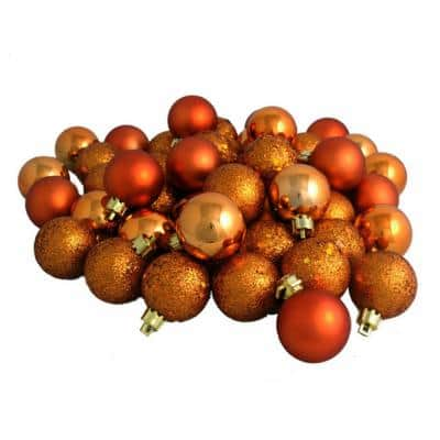 Burnt Orange 4-Finish Shatterproof Christmas Ball Ornaments (96-Count)