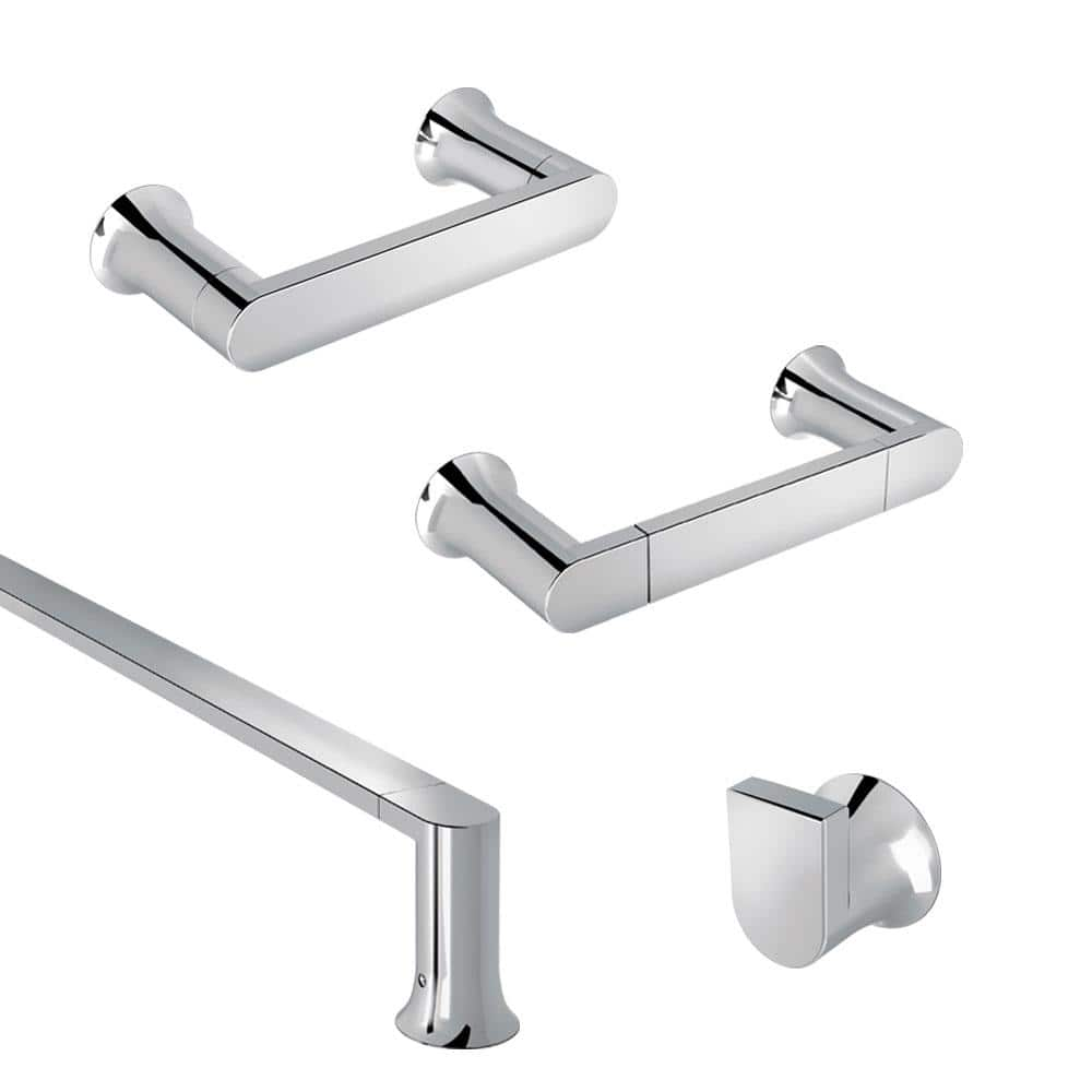 Moen Genta 4 Piece Bath Hardware Set With 18 In Towel Bar Hand Towel Bar Robe Hook And Toilet Paper Holder In Chrome Gentach 4pc18 The Home Depot