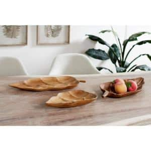 Large Rustic Leaf-Shaped Natural Teak Wood Serving Trays (Set of 3)