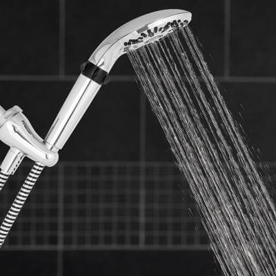 5-Spray 5 in. Single Wall Mount Handheld Shower Head in Chrome