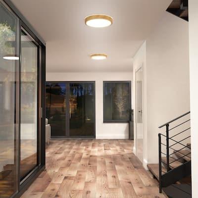 Dryad 15 in. 1-Light Wood LED Flush Mount