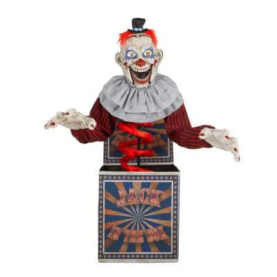 75 in. Animated LED Creepy Jack in the Box Halloween Prop