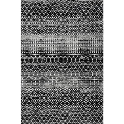 Blythe Modern Moroccan Trellis Black 10 ft. x 13 ft. Area Rug
