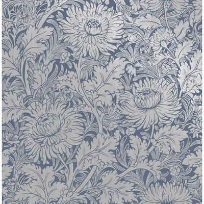 Zinnia Blue Floral Blue Wallpaper Sample