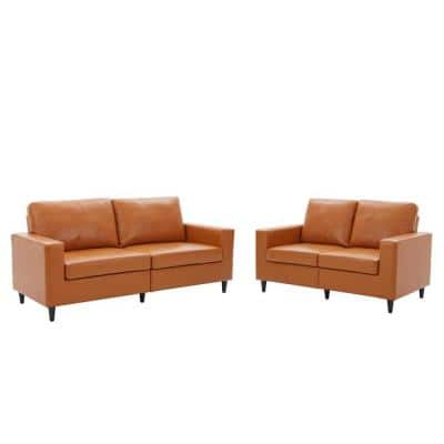 2-Piece Morden Brown PU Leather Living Room Set with 3-Seat Sofa Couch and Loveseat (2+3-Seat)