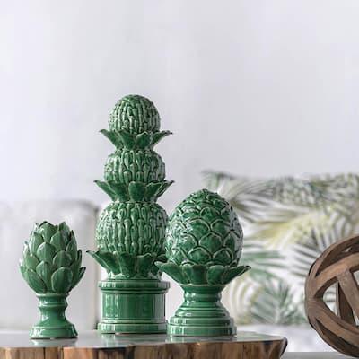Vintage Green Large Helsa Blooming Artichoke Decor Accent