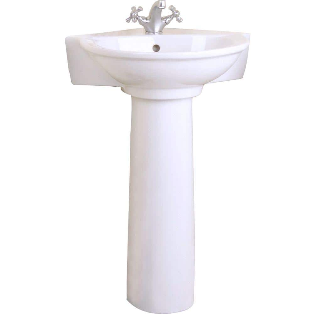 Pegasus Evolution Corner Pedestal Combo Bathroom Sink In White 3 221wh The Home Depot