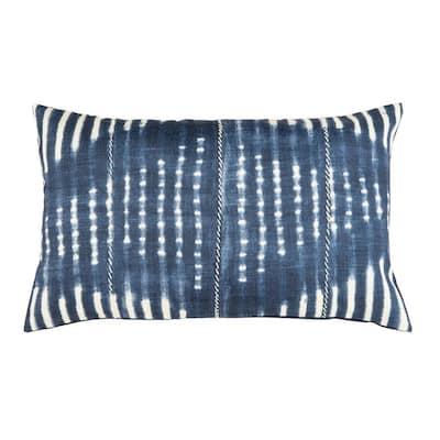 Laurena Blue/Cream 20 in. x 12 in. Throw Pillow