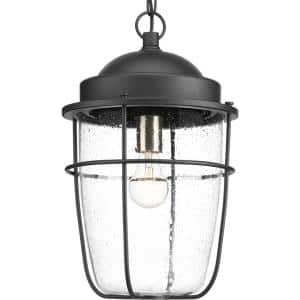 Holcombe Collection 1-Light Textured Black Clear Seeded Glass Farmhouse Outdoor Hanging Lantern Light