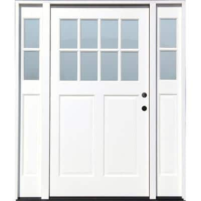 Cottage 70 in.x 80 in. White Left Hand Inswing Clear 8-Lite 2-Panel Painted Wood Prehung Entry Door with 11 in. Sidelite