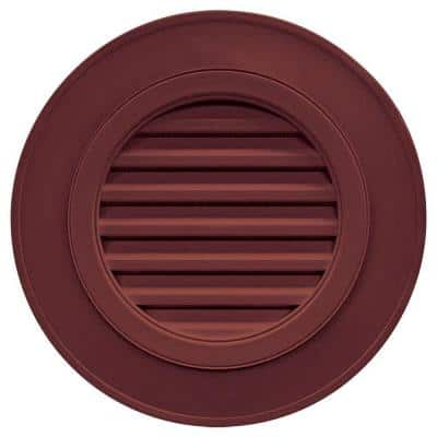 28 in. x 28 in. Round Red Plastic Built-in Screen Gable Louver Vent