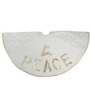 48 in. White and Gold Peace and Reindeer Christmas Tree Skirt