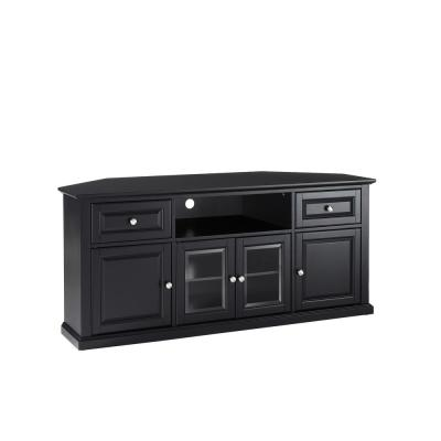 Furniture 27 in. Black Wood Corner TV Stand with 2 Drawer Fits TVs Up to 60 in. with Storage Doors