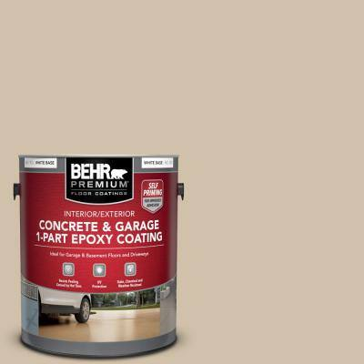 Behr Premium 1 Gal N260 2 Almond Latte Self Priming 1 Part Epoxy Satin Interior Exterior Concrete And Garage Floor Paint 90001 The Home Depot