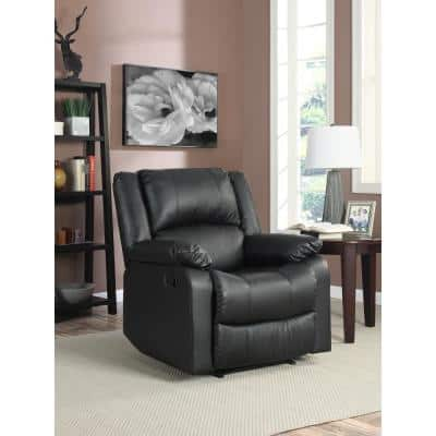 Preston 38 in. Width Big and Tall Black Faux Leather 1 Position Recliner