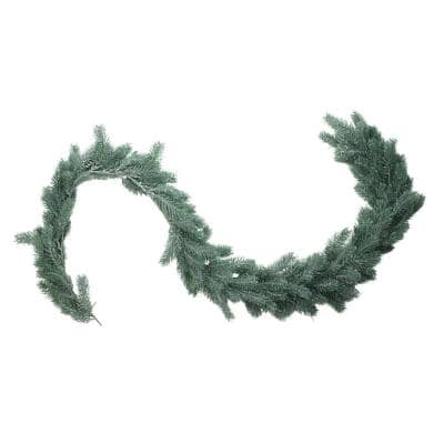 76 in. Unlit Frosted and Dusted Artificial Green Pine Decorative Christmas Garland