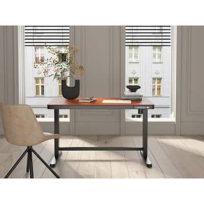 Juno Height-Adjustable Desk with Wireless Charging in Walnut