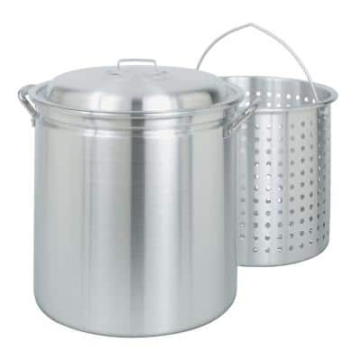 60 qt. Aluminum Stock Pot in Silver with Lid