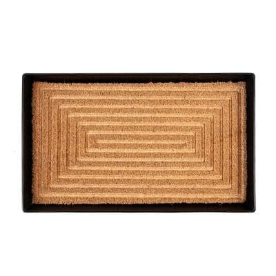 24.5 in. x 14 in. x 1.5 in. Black Metal Boot Tray with Rectangle Embossed Coir Insert