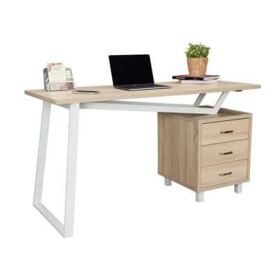 55 in. Rectangular Sand/Gray 3 Drawer Computer Desk with Built-In Storage
