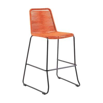 Shasta Armless 30 in. UV Protected Outdoor Metal and Tangerine Rope Stackable Barstool Footrest