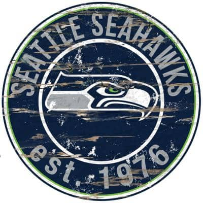 """24"""" NFL Seattle Seahawks Round Distressed Sign"""