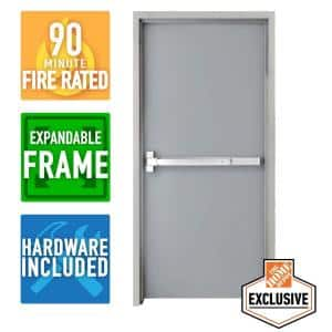 36 in. x 84 in. Right-Hand Galvanneal Steel Mill Primed Commercial Door Kit with 90 Minute Fire Rating, Adjustable Frame