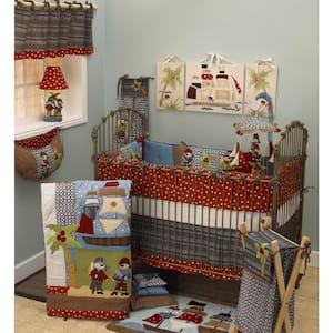 Pirates Cove 8-Piece Multi Colored Pirate Ship Crib Bedding Set