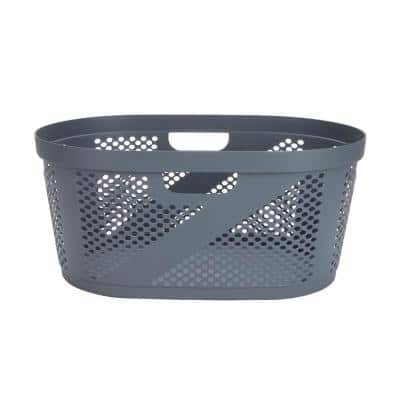 Gray Plastic Laundry Basket with Cutout Handles and Lid 40-Liter