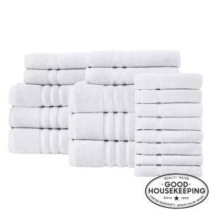 Turkish Cotton Ultra Soft 18-Piece Towel Set in White