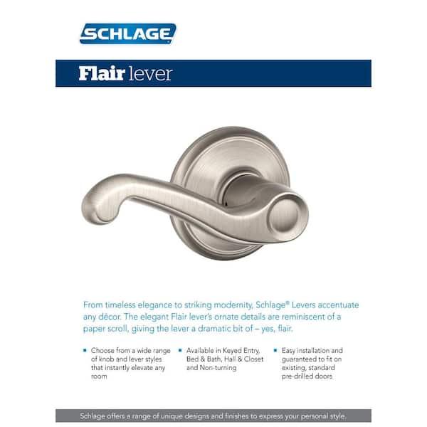 Schlage F10FLA619 Flair Passage Lever Satin Nickel Hall//Closet Lever Set ADA