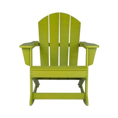 Westin Outdoor Amos Lime Outdoor Rocking Poly Adirondack Chair 2001 Rc Lm The Home Depot